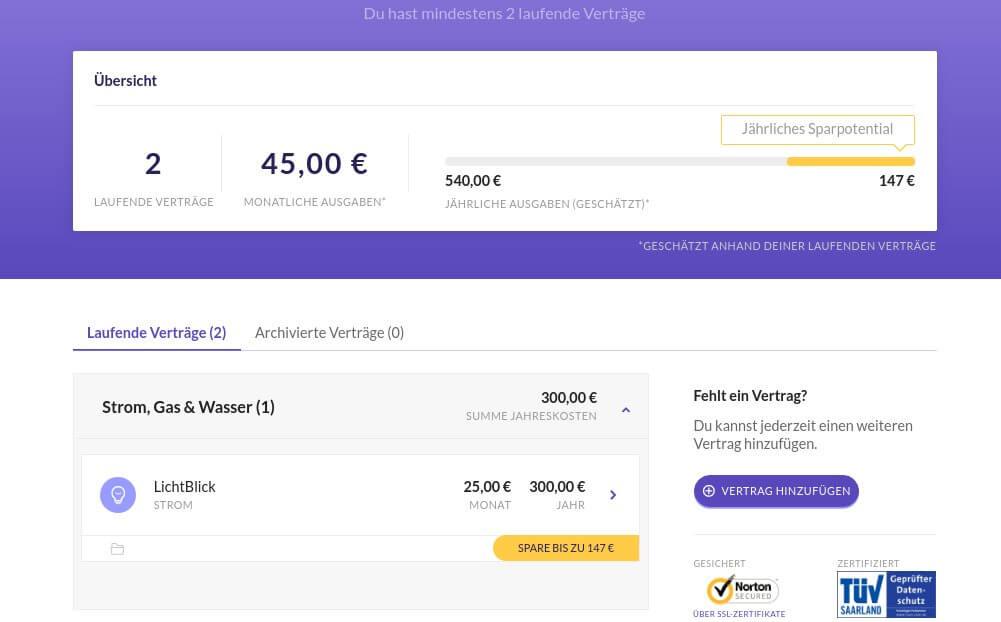 Screenshot des MoneyMap Kontos