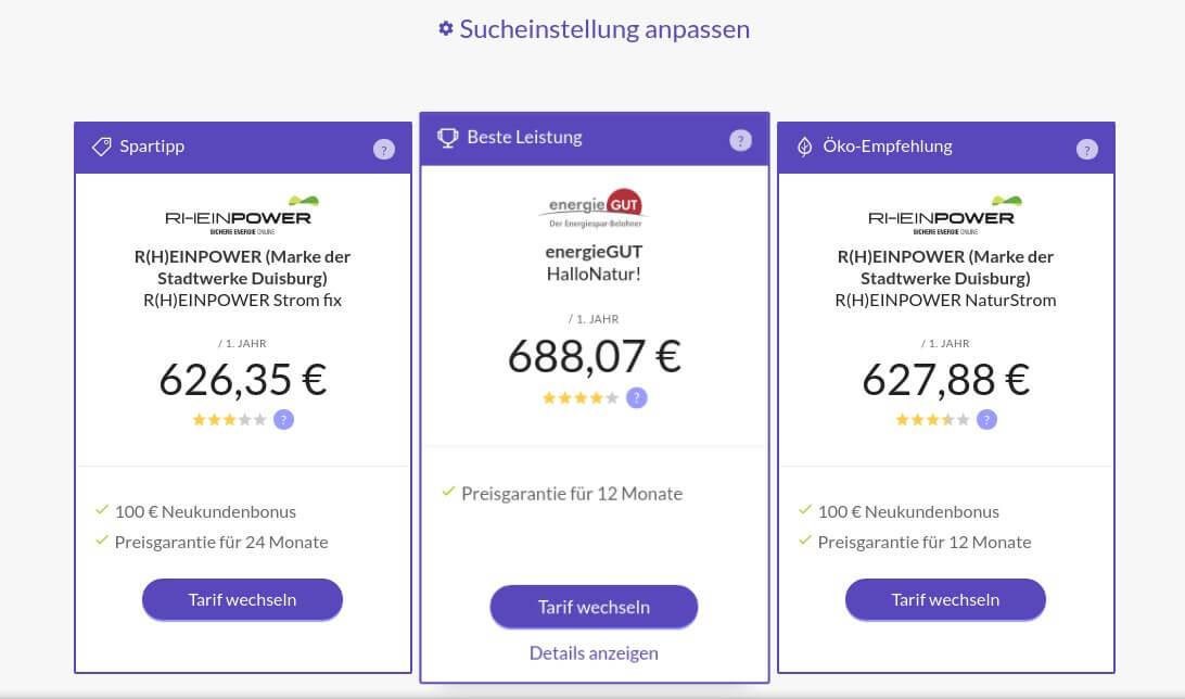 Screenshot eines MoneyMap Vergleiches